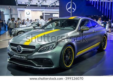 BANGKOK, THAILAND - March 29 : Mercedes-Benz AMG car on display at The 37th Thailand Bangkok International Motor Show on March 29, 2016 in Bangkok, Thailand. - stock photo