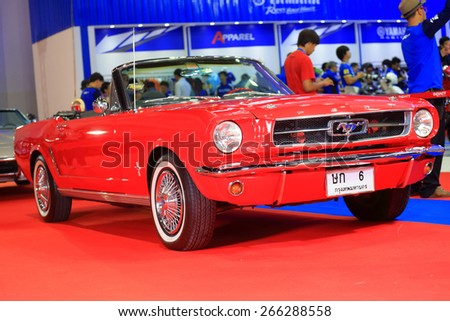 BANGKOK, THAILAND - MARCH 24 :  Mustang 1965s displayed on stage at the 36th Bangkok International Motor show  in March 24, 2015. Bangkok, Thailand. - stock photo