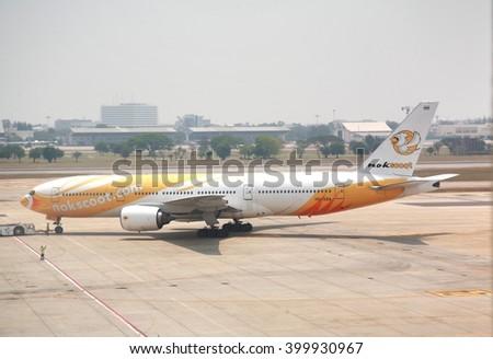 BANGKOK, THAILAND - March 24,2016 : Nokscoot airline Plane landed  at Don Mueang International Airport Terminal 1 for International flights