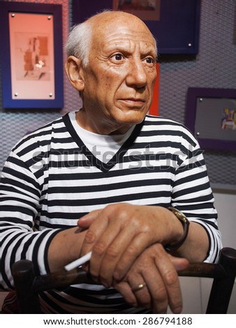 BANGKOK THAILAND - MARCH 5, 2015: Pablo Picasso waxwork figure -Madame Tussauds Siam discovery - stock photo