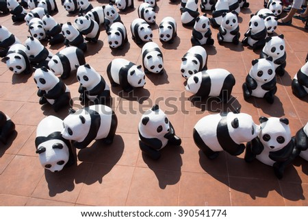 Bangkok, Thailand - March 13, 2016 : 1600 Pandas World Tour in Thailand by WWF at Sao Ching Cha. 1600 paper marche pandas are made from recycled materials to represent 1600 pandas