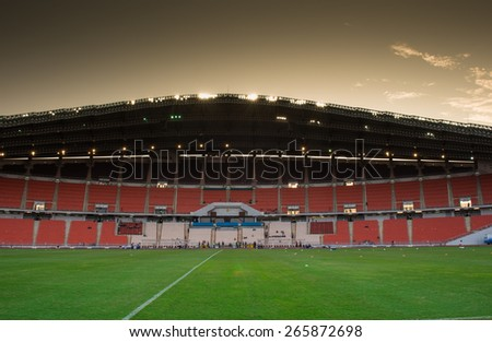 BANGKOK,THAILAND-MARCH 30:Panoramic views sunset at Rajamangala Stadium before match the international friendly match between Thailand and Cameroon at Rajamangala Stadium on March30 2015 in,Thailand.