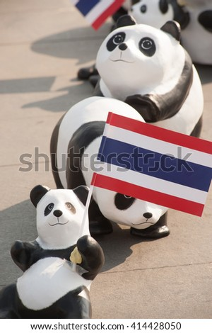 BANGKOK, THAILAND - MARCH 4, 2016: 1600 paper Mache Pandas campaign showcase at Sanamluang  , Bangkok capital city in Thailand by WWF to promote environmental preservation.