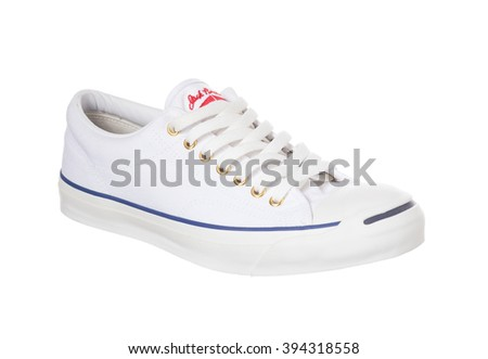BANGKOK, THAILAND - March 22,2016: Photo of All Star Converse sneakers on a white