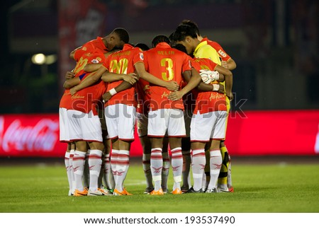 BANGKOK THAILAND-March 23:Players of BEC-Tero Sasana. in action during Thai Premier League BEC-Tero Sasana and Chonburi F.C.at 72-years Anniversary Stadium on March 23,2014 in Thailand - stock photo