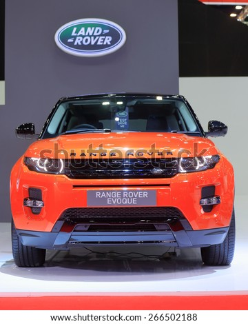 BANGKOK, THAILAND - MARCH 24 : Range Rover Evoque displayed on stage at the 36th Bangkok International Motor show  in March 24, 2015. Bangkok, Thailand. - stock photo