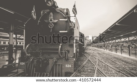 Bangkok, Thailand - March 26, 2016 : Steam train at Foundation Day of train operation 119 years anniversary of the State Railway of Thailand. , process in vintage black and white style