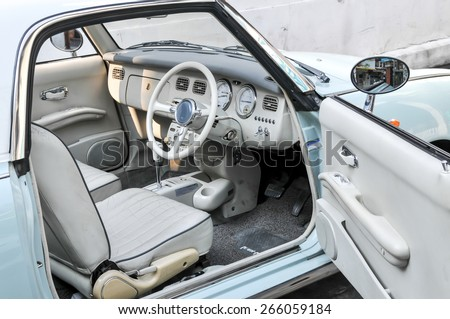 Bangkok Thailand - March 14th, 2015 - Only 12,000 classic Nissan Figaro vintage retro cars were produced in 2011. - stock photo