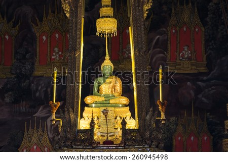 BANGKOK THAILAND - March 16 : The Emerald Buddha in the temple of Wat Phra Kaeo at the Grand Palace in Bangkok, Thailand on March 16, 2015 - stock photo