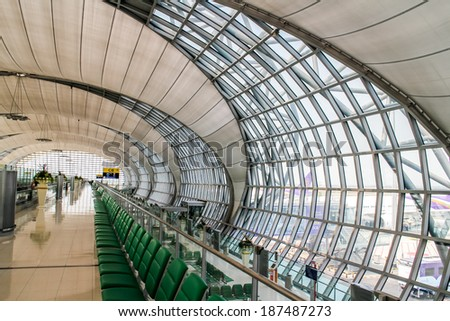 BANGKOK, THAILAND-MARCH 24:The main concourse of Suvarnabhumi Airport, designed by, Helmut Jahn is the world's third largest single-building airport terminal on March 24,2014 in Bangkok,Thailand