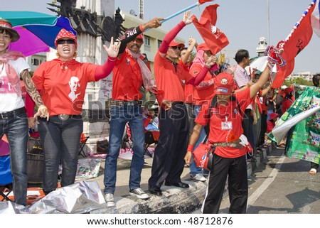 BANGKOK , THAILAND - MARCH 13: Thousands of red-shirted, anti-government demonstrators converged on the Thai capital vowing to oust the government in a mass. March 13, 2010 in Bangkok, Thailand.