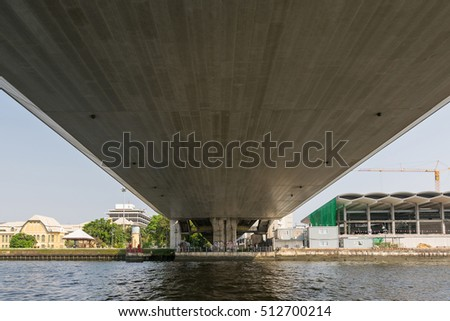 Bangkok, Thailand - March 6, 2016 : Tourist the popular boat travel under bridge on the Chao Phraya river. To stay in downtown Bangkok. And tourist attractions on both sides of the river.