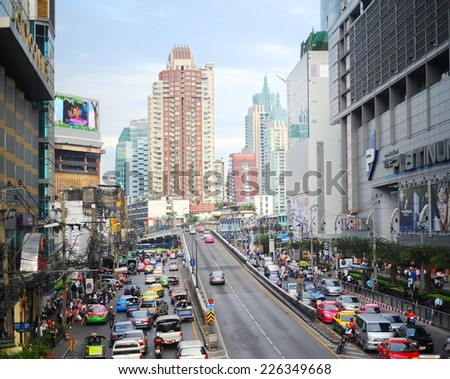 BANGKOK, THAILAND - MARCH 26, 2012: Traffic jam in Bangkok. Bangkok had one of the worst traffic problems in the world with unbelievable traffic jams.  - stock photo