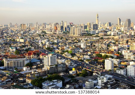 BANGKOK, THAILAND - MARCH 4: Traffic jam in Bangkok, Thailand on March 4, 2013 . Traffic jams is unresolved problem in Bangkok. - stock photo
