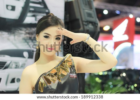 BANGKOK, THAILAND - MARCH 30, 2014: Unidentified model with Maxliner pose in the 35th Bangkok International Motor Show on March 30, 2014 in Bangkok, Thailand.