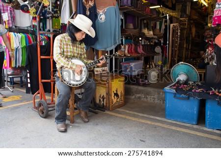 BANGKOK, THAILAND - MARCH 15 : Unidentified Thai musician perform at Jatujak or Chatuchak Market on March 15, 2015 in Bangkok, Thailand. Jatujak Market is the largest market in Thailand. - stock photo