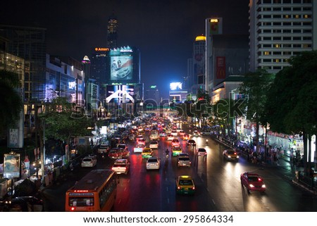 Bangkok, Thailand - March 27: View of a busy street downtown, Bangkok, Thailand on March, 27, 2013. - stock photo
