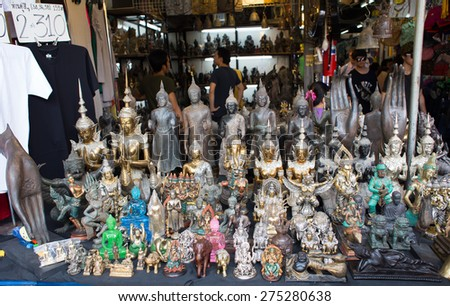 BANGKOK, THAILAND - MARCH 15 : View of antiques shop at Jatujak Market on March 15, 2015 in Bangkok, Thailand. Jatujak Market is the largest market in Thailand. - stock photo