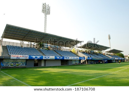 BANGKOK THAILAND-MARCH 08:View of TOT Stadium before match during Thai Premier League between TOT S.C.and Muangthong Utd. at TOT Stadium on March 08, 2014,Thailand - stock photo