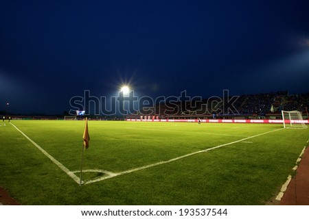 BANGKOK THAILAND-March 23:View of 72-years Anniversary Stadium during Thai Premier League BEC-Tero Sasana and Chonburi F.C.at 72-years Anniversary Stadium on March 23,2014 in Thailand - stock photo