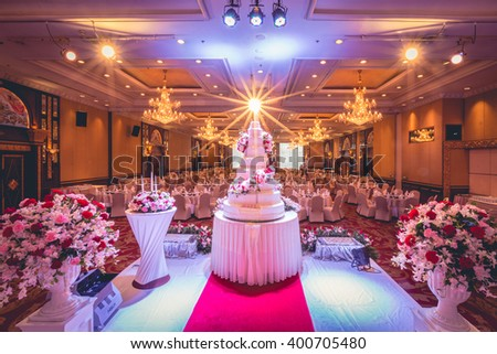 Bangkok thailand march 27 2016 wedding stock photo edit now bangkok thailand march 27 2016 wedding cake and flowers decorations with chandelier junglespirit Choice Image