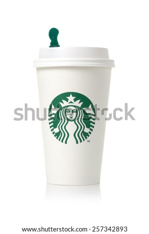 BANGKOK, THAILAND - MARCH 03, 2015: White coffee cup with Starbucks logo. Starbucks is the world's largest coffee house with over 20,000 stores in 61 countries.