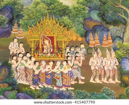 BANGKOK, THAILAND - MAY 2, 2016 : Ancient Buddhist temple mural painting of the life of Buddha inside of Wat Singha in Bangkok, Thailand - stock photo