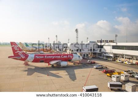 BANGKOK, THAILAND- MAY 12, 2015: Bangkok International Airport (Don Muang) is a regional commuter flight hub and the de facto low cost airline hub in the morning, Bangkok,Thailand. May 12 2015. - stock photo