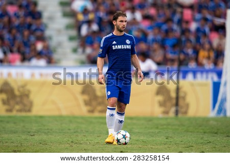 BANGKOK THAILAND MAY 30:Branislav Ivanovic of Chelsea in action during the Singha Chelsea fc. Celebration match Thailand All-Stars and Chelsea FC at Rajamangala Stadium on May 30,2015 in Thailand. - stock photo