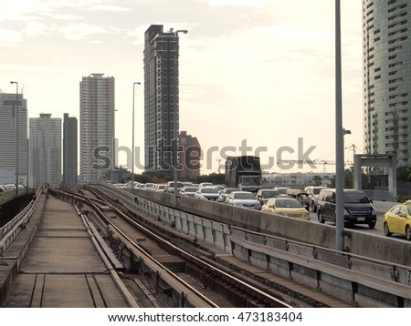 Bangkok,Thailand - May 29,2016 : BTS Skytrain at a station in the city centre as the rail network.