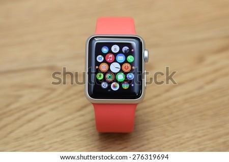 BANGKOK, THAILAND -MAY 7, 2015: close up image of the new apple watch sport on MAY 7, 2015 in Bangkok Thailand - stock photo
