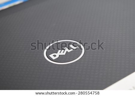 BANGKOK, Thailand- May 23 2015: Dell Logo on notebook cover. Dell Inc. is an American multinational computer technology company that develops, sells and repairs computers.