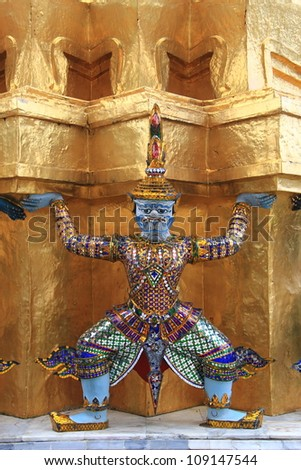 BANGKOK THAILAND - MAY 24 : Demon statue on Grand Palace or Temple of the Emerald Buddha (also called Wat Phra Kaew) on May 24, 2012 at Bangkok, Thailand.