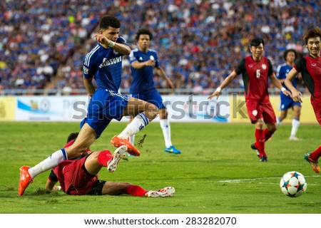 BANGKOK THAILAND MAY 30:Dominic Solanke (blue) of Chelsea in action during the Singha Chelsea fc. Celebration match Thailand All-Stars and Chelsea FC at Rajamangala Stadium on May 30,2015 in Thailand. - stock photo