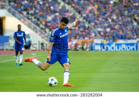 BANGKOK THAILAND MAY 30:Dominic Solanke of Chelsea in action during the Singha Chelsea fc. Celebration match Thailand All-Stars and Chelsea FC at Rajamangala Stadium on May 30,2015 in Thailand. - stock photo