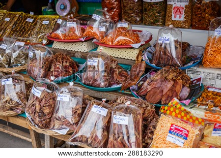 BANGKOK, THAILAND - May 31: Dried seafood packaged in bags for sale in Bangkok on May 31, 2015 in Bangkok, Thailand.