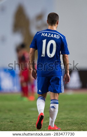 BANGKOK THAILAND MAY 30:Eden Hazard  no.10 of Chelsea walk during the Singha Chelsea fc. Celebration match Thailand All-Stars and Chelsea FC Rajamangala Stadium on May 30,2015 in Thailand. - stock photo