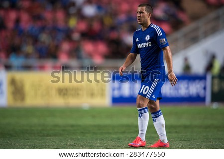 BANGKOK THAILAND MAY 30:Eden Hazard  of Chelsea in action during the Singha Chelsea fc. Celebration match Thailand All-Stars and Chelsea FC Rajamangala Stadium on May 30,2015 in Thailand.