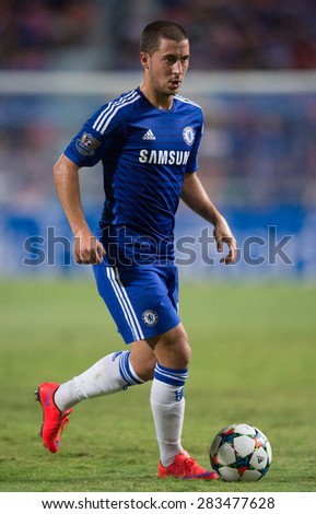 BANGKOK THAILAND MAY 30:Eden Hazard of Chelsea run with the ball during the Singha Chelsea fc. Celebration match Thailand All-Stars and Chelsea FC Rajamangala Stadium on May 30,2015 in Thailand. - stock photo