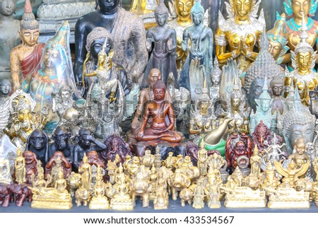 Bangkok, Thailand. - May 28, 2016 : Group of different buddha statue at Jatujuk market , Bangkok, Thailand.