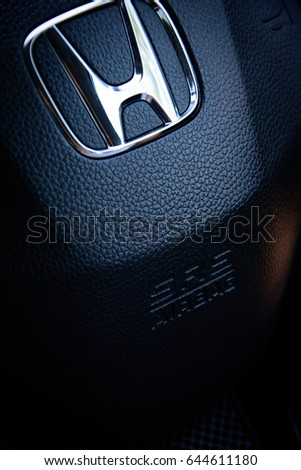 Bangkok, Thailand - May 21, 2017: Honda HRV Black Steering Wheel And Silver Logo. Honda Motor Co., Ltd. is a Japanese public. Editorial