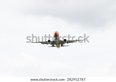 BANGKOK, THAILAND - MAY 20, 2015: HS-DBQ Nok Air Boeing 737-800 landing to Don Mueang International Airport Thailand. Nok Air company is the largest low cost airlines in Thailand.