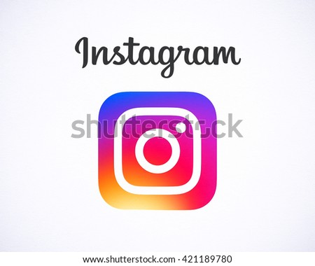 Bangkok, Thailand - May 15, 2016 - Instagram new logo 2016 , camera icon symbolic with colorful new design, Printed on white paper. Instagram is a popular social networking for sharing photos, videos. - stock photo