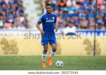 BANGKOK THAILAND MAY 30:John Obi Mikel of Chelsea in action during the Singha Chelsea fc. Celebration match Thailand All-Stars and Chelsea FC at Rajamangala Stadium on May 30,2015 in Thailand. - stock photo