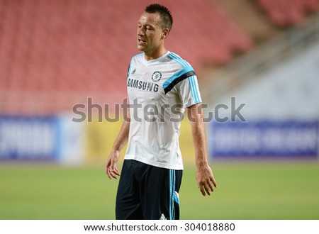 BANGKOK THAILAND MAY 29: John Terry captain-team of Chelsea in action during the pre-match training session at Rajamangala Stadium on May 29,2015 in Thailand.