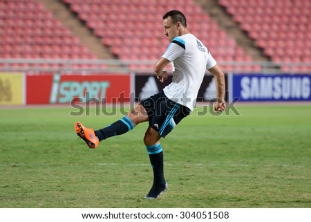BANGKOK THAILAND MAY 29: John Terry captain-team of Chelsea in action during the pre-match training session at Rajamangala Stadium on May 29,2015 in Thailand. - stock photo