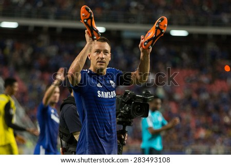BANGKOK THAILAND MAY 30:John Terry of Chelsea acknowledges the fan during the Singha Chelsea fc.Celebration match Thailand All-Stars and Chelsea FC at Rajamangala Stadium on May30,2015 in Thailand. - stock photo