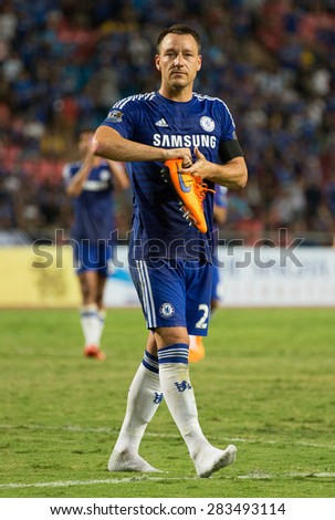 BANGKOK THAILAND MAY 30:John Terry of Chelsea in action during the Singha Chelsea fc.Celebration match Thailand All-Stars and Chelsea FC at Rajamangala Stadium on May30,2015 in Thailand. - stock photo