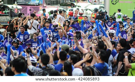 Bangkok, Thailand - May 19, 2016 : Leicester City Supporter waiting for Leicester City Team parade to celebrate First Championship of English Premiere League 2015-16