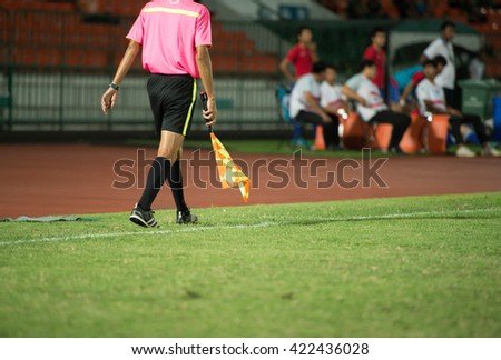 BANGKOK THAILAND-11MAY,2016:Lineman assistant referee competition during army fc and sukhothai fc at royal thai army stadium in thailand